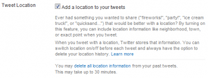 Twitter settings to opt-in to the location feature