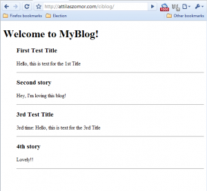 ciBlog displays content from database