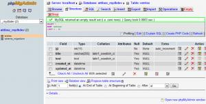phpMyAdmin - Entries table