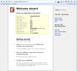 Rails welcome page - working